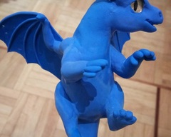 sculpture commission dragon blue baby hatchling balanced companion  furry