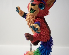 sculpture commission artwork fox furry balanced companion